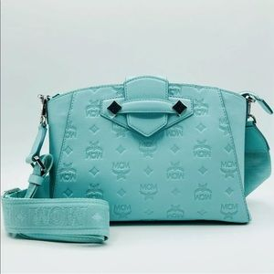 Authentic MCM Blue Monogram Crossbody Bag